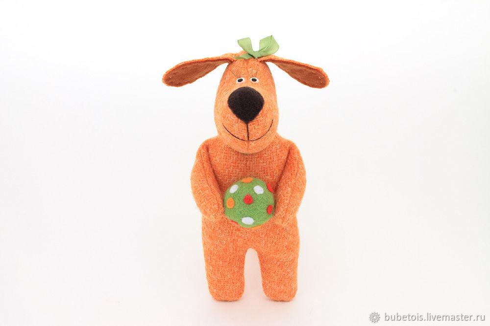 Собачка мягкая игрушка, маленькая собака авторская текстильная игрушка. Небольшая рыжая собачка из ткани. Интерьерные игрушки Бубенщиковой Ольги