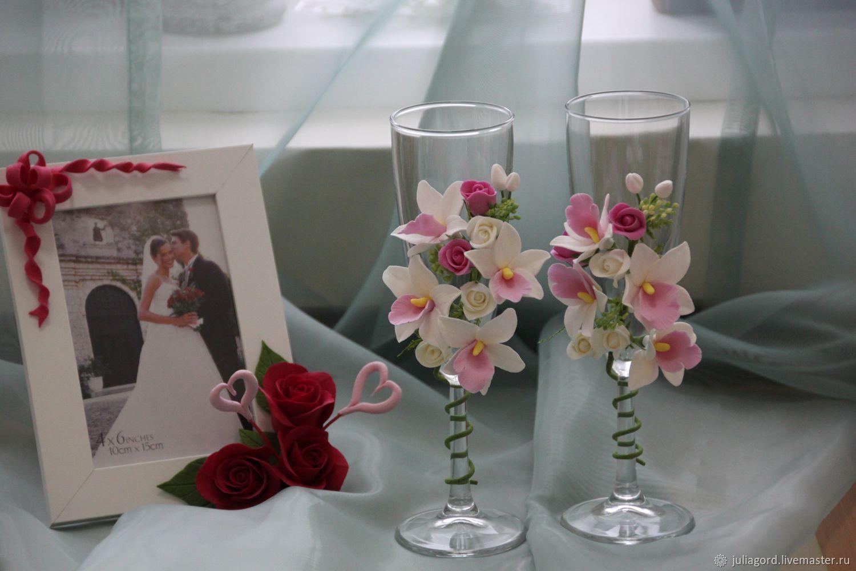Свадебные аксессуары ручной работы. Ярмарка Мастеров - ручная работа. Купить Свадебные бокалы с орхидеями. Handmade. Орхидеи, свадебные бокалы