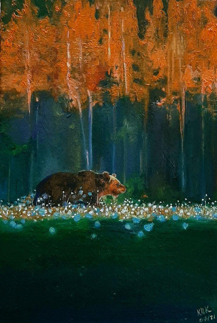 """Картина """"Вышел мишка из леса на рассвете"""", Картины, Верхнеимбатск,  Фото №1"""