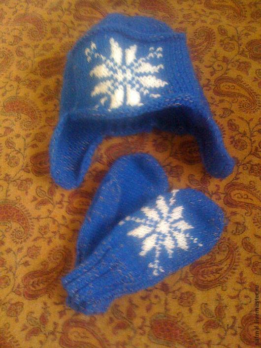 Для подростков, ручной работы. Ярмарка Мастеров - ручная работа. Купить для сынишки (шапка+варежки). Handmade. Тёмно-синий, орнамент
