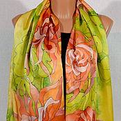 Scarves handmade. Livemaster - original item Silk scarf batik Chrysanthemum. Handmade.