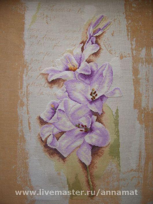 Картины цветов ручной работы. Ярмарка Мастеров - ручная работа. Купить Вышивка крестом Голубой гладиолус (Blue Gladiolus). Handmade.
