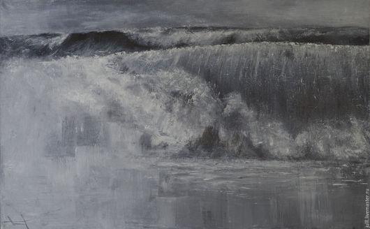 Пейзаж ручной работы. Ярмарка Мастеров - ручная работа. Купить Волна. Handmade. Серый, морской пейзаж, море, волна, монохром