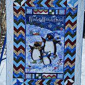 Для дома и интерьера ручной работы. Ярмарка Мастеров - ручная работа Лоскутное одеяло с пингвинами. Handmade.