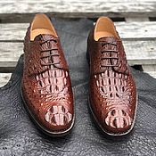 Обувь ручной работы handmade. Livemaster - original item Men`s Derby made of embossed crocodile skin, in a rare shade!. Handmade.
