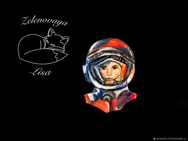 Brooch 'Cosmonaut. Yuri Gagarin, cosmos, orange, blue', Brooches, Bryukhovetskaya,  Фото №1