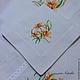 """Текстиль, ковры ручной работы. Ярмарка Мастеров - ручная работа. Купить Льняная салфетка с вышивкой """"Нежность лилии"""". Handmade. Белый"""
