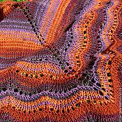 Аксессуары ручной работы. Ярмарка Мастеров - ручная работа Теплая Африка треугольная шаль БОХО фиолетово-оранжевый платок. Handmade.
