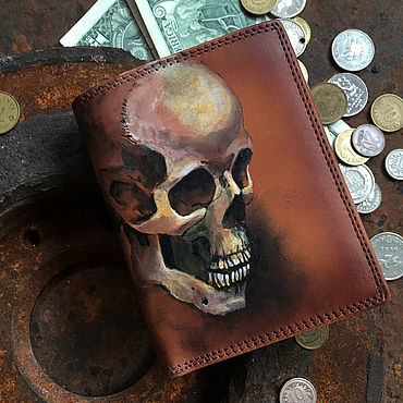Bags and accessories handmade. Livemaster - original item Men`s wallet trifold. Goth skull wallet. Post apocalyptic. Handmade.