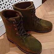 """Обувь ручной работы. Ярмарка Мастеров - ручная работа Ботинки валяные """"Осенняя трава"""". Handmade."""