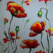 """Картины и панно ручной работы. Ярмарка Мастеров - ручная работа Роспись по стеклу """"Огненые маки"""". Handmade."""