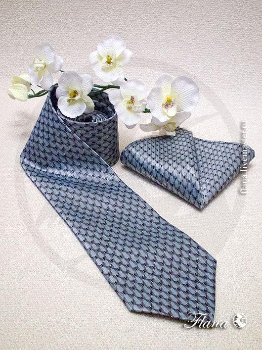 Галстук (атласный комплект) - галстук, платок. Индивидуальный пошив, Флана