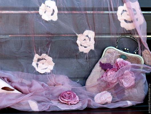 """Комплекты аксессуаров ручной работы. Ярмарка Мастеров - ручная работа. Купить Комплект валяный """"Аромат чайной розы"""". Handmade. Кремовый"""