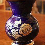 Винтаж handmade. Livemaster - original item Beautiful cobalt vase with a gold rose, Royal KPM, Germany. Handmade.