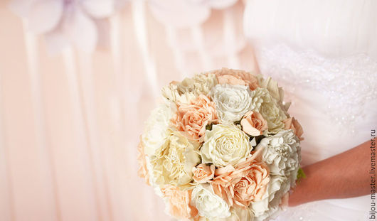 Свадебные цветы ручной работы. Ярмарка Мастеров - ручная работа. Купить букет невесты ПОЦЕЛУЙ НЕЖНОСТИ. Handmade. Белый