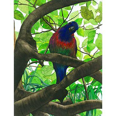 """Картины и панно ручной работы. Ярмарка Мастеров - ручная работа Картина: """"Попугай острова Бали"""", 23 на 31 см. Handmade."""