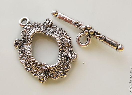 Застежки-тогл круглые, античное серебро с узором