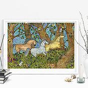 Картины и панно handmade. Livemaster - original item print running horses in a fairy forest picture for children. Handmade.