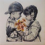 """Картины ручной работы. Ярмарка Мастеров - ручная работа Вышивка """"Застенчивая пара"""". Handmade."""