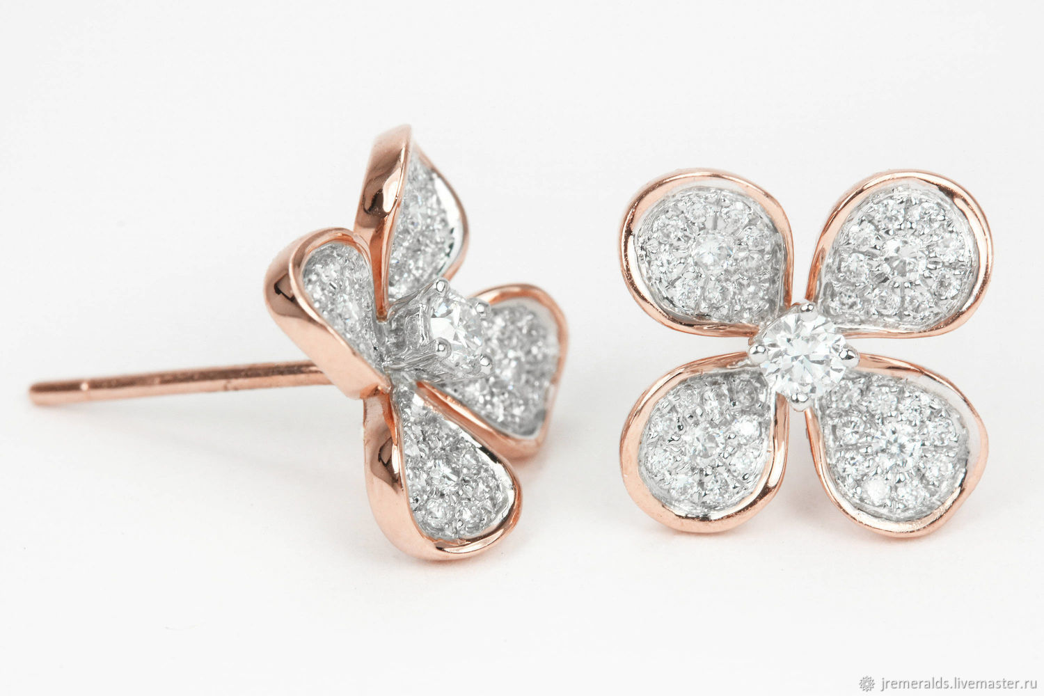 Diamond Flower Earrings Natural Stud Pave R