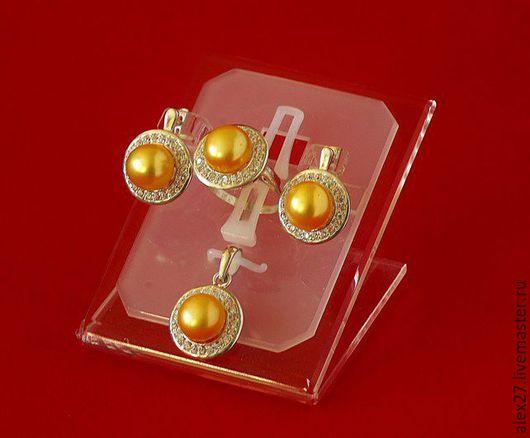 Комплект жемчуг сапфир р.18,7 серебро 925