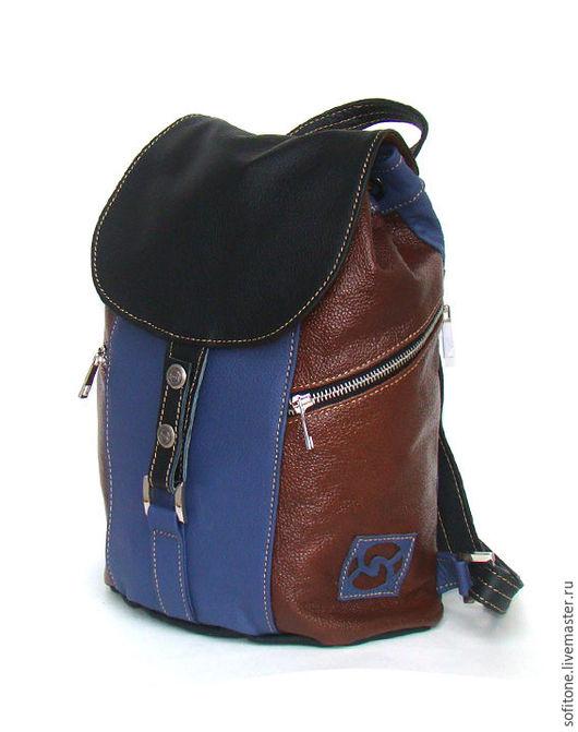 Женские сумки ручной работы. Ярмарка Мастеров - ручная работа. Купить Рюкзак кожаный трехцветный: Синий-Коричневый-Черный. Handmade.