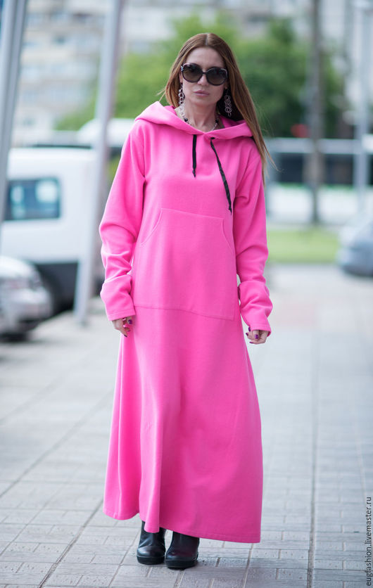 Розовое платье. Платье с капюшоном. Платье с карманами. Платье из кашемира. Платье с длинным рукавом. Ручная работа.