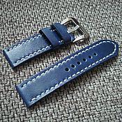 Украшения handmade. Livemaster - original item Watchband blue leather. Handmade.