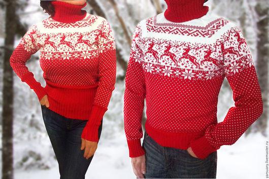 Мягкий и уютный шерстяной свитер с оленями стал уже традиционным и желанным Новогодним подарком. Свитер с оленями связан в традиционных классических цветах,характерных для норвежского узора.