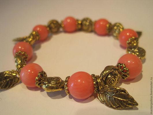 """Браслеты ручной работы. Ярмарка Мастеров - ручная работа. Купить Браслет """"Коралловые розы"""". Handmade. Бледно-розовый, под золото"""