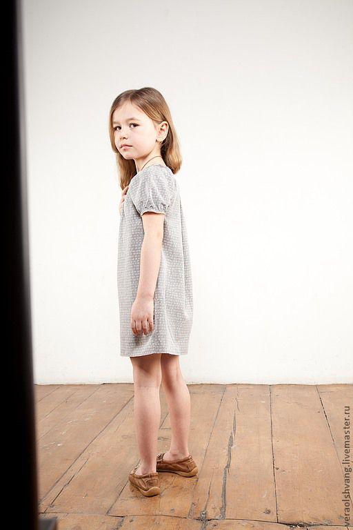 Одежда для девочек, ручной работы. Ярмарка Мастеров - ручная работа. Купить Милое девичье платье с циферками. Handmade. Серый