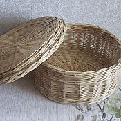 Для дома и интерьера handmade. Livemaster - original item Casket round with lid, woven from willow twigs. Handmade.
