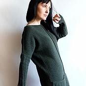 Одежда ручной работы. Ярмарка Мастеров - ручная работа Темно-зеленое платье с карманами. Handmade.
