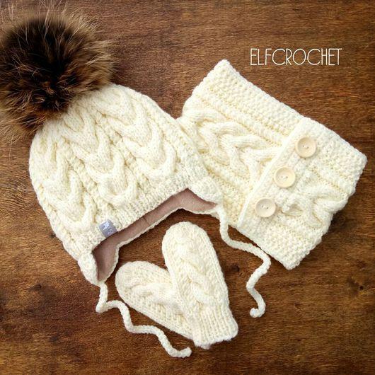 Шапки и шарфы ручной работы. Ярмарка Мастеров - ручная работа. Купить Комплект шапка-снуд-варежки. Handmade. Комплект