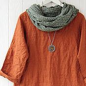 Одежда handmade. Livemaster - original item Oversized blouse made of terracotta linen. Handmade.