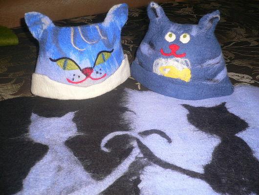 """Банные принадлежности ручной работы. Ярмарка Мастеров - ручная работа. Купить Банная шапка """"Довольный Кот"""". Handmade. Валяние, коврик"""
