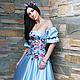 Платья ручной работы. Ярмарка Мастеров - ручная работа. Купить Нарядное вышитое платье. Роскошное платье «Небесное». Handmade. Голубой