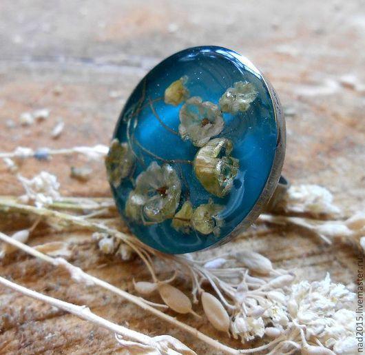 """Кольца ручной работы. Ярмарка Мастеров - ручная работа. Купить Винтажное кольцо с цветами """"Голубое небо"""". Handmade. Бирюзовый"""