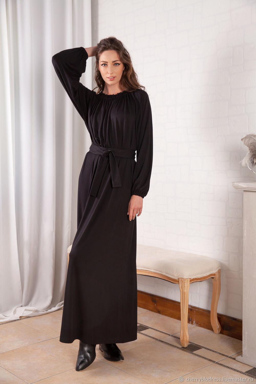 Черное макси осеннее зимнее вискозное платье с длинным рукавом 144.380 – купить на Ярмарке Мастеров – GV79PRU   Платья, София