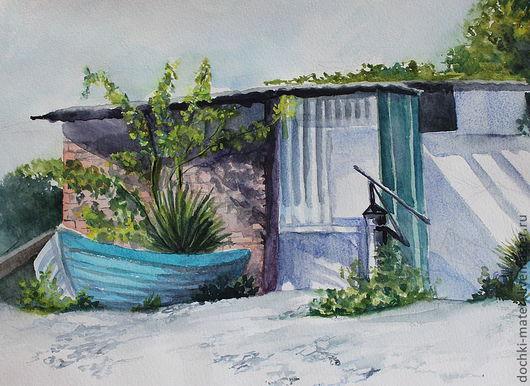 """Пейзаж ручной работы. Ярмарка Мастеров - ручная работа. Купить картина """"После рыбалки"""". Handmade. Лодка, море, солнце, галька"""