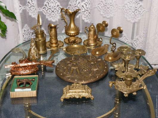 Винтажные предметы интерьера. Ярмарка Мастеров - ручная работа. Купить Коллекция немецкой бронзы Панно, вазы, подсвечники, колокольчик. Handmade.