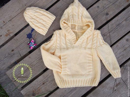 Одежда унисекс ручной работы. Ярмарка Мастеров - ручная работа. Купить комплект детский: свитер с капюшоном и шапочка. Handmade. Желтый
