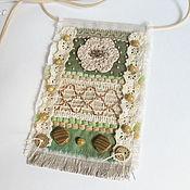 """Украшения ручной работы. Ярмарка Мастеров - ручная работа """"Зеленый холм"""" бохо кулон из ткани подвеска текстильная. Handmade."""