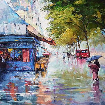 Картины и панно ручной работы. Ярмарка Мастеров - ручная работа Дождь на улице. Handmade.