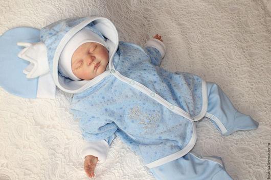 """Для новорожденных, ручной работы. Ярмарка Мастеров - ручная работа. Купить Комплект на выписку """"Королевский"""" для мальчика. Handmade. Голубой"""