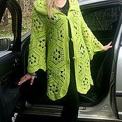 Одежда ручной работы. Ярмарка Мастеров - ручная работа Кардиган крючком мотивами Ярко-зеленый. Handmade.