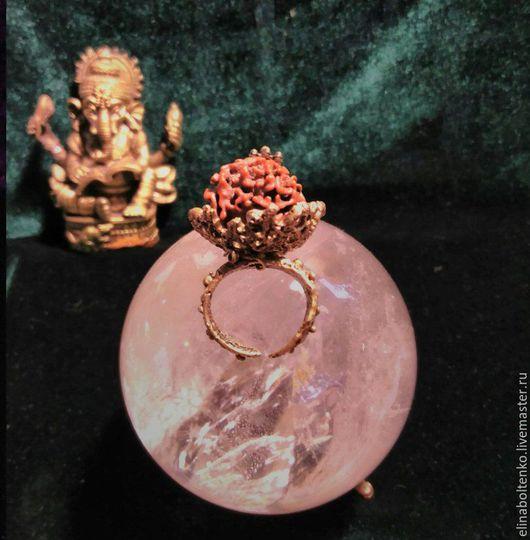 """Кольца ручной работы. Ярмарка Мастеров - ручная работа. Купить Кольцо """"Огонь Рудракши в корзинке"""". Handmade. Коричневый, необычный подарок"""