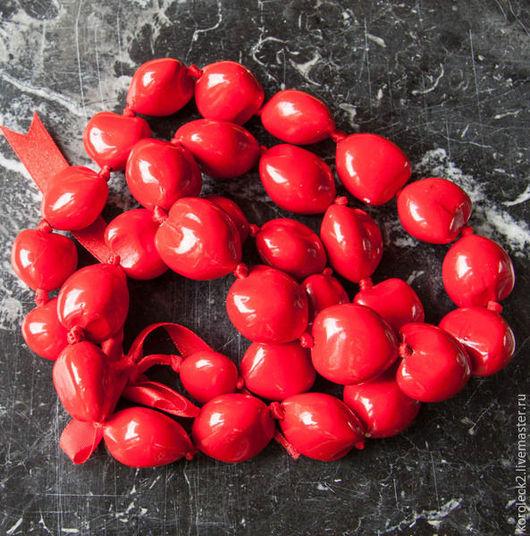 Для украшений ручной работы. Ярмарка Мастеров - ручная работа. Купить Красные крупные бусины из ореха Кукуи. Handmade. Бусины