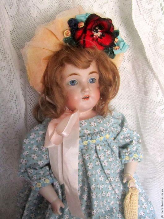 Одежда для кукол ручной работы. Ярмарка Мастеров - ручная работа. Купить Катино платье.. Handmade. Голубой, антик