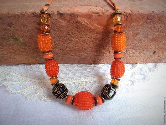"""Колье, бусы ручной работы. Ярмарка Мастеров - ручная работа. Купить Колье """"Занзибар""""  оранжевое.. Handmade. Оранжевый цвет, оранжевый"""